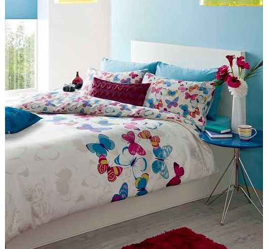 Cotton Blend Vibrant Butterfly Girls Duvet Quilt Cover Bedding Set Single