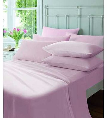 Catherine Lansfield Flannelette Pink Fitted Sheet - Double