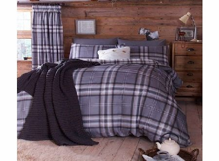 Catherine Lansfield Kelso Cotton Rich Double Quilt Set, Charcoal