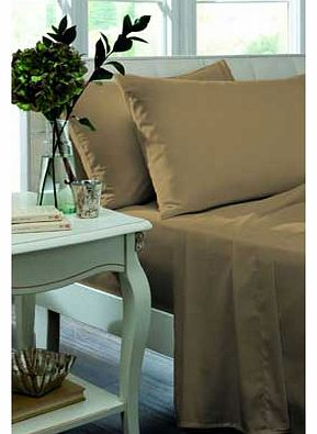 Catherine Lansfield Percale Non Iron Caramel Fitted Sheet - Double