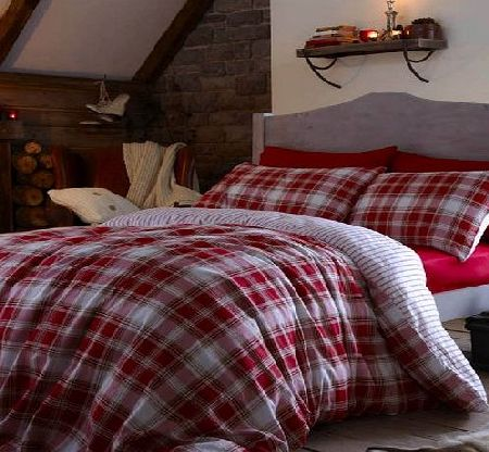Catherine Lansfield Tartan Red Duvet Cover Set - Double