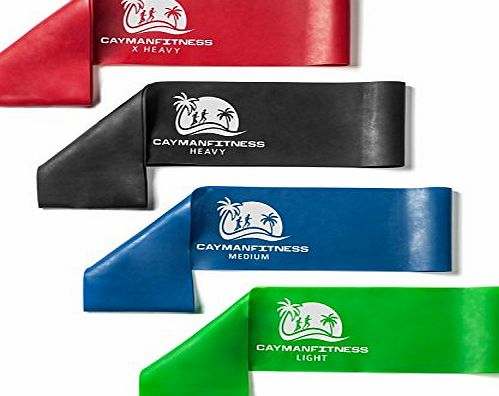 Cayman Fitness Includes User Guide   Videos: Cayman Fitness Extra Wide Premium Resistance Loop Bands. The Exercise Band Set Comes with 4 Heavy Duty Resistance Bands, Includes Downloadable User Guide and Online Video
