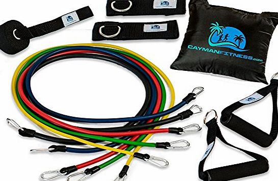 Cayman Fitness Premium Resistance Band Set. The Exercise Band Set Comes with 5 Heavy Duty Bands, Door Anchor, 2 Neoprene Lined Ankle Straps, 2 Comfortable Handles, Carrying Case, Includes Downloadable