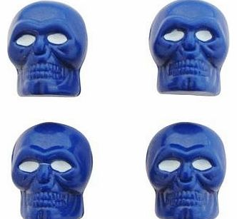 Skull Car or Bike Dust/Valve Caps- Blue with White Eyes