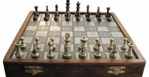 Brushed Metal Top Chess set with Inlayed Board & Metal Pieces