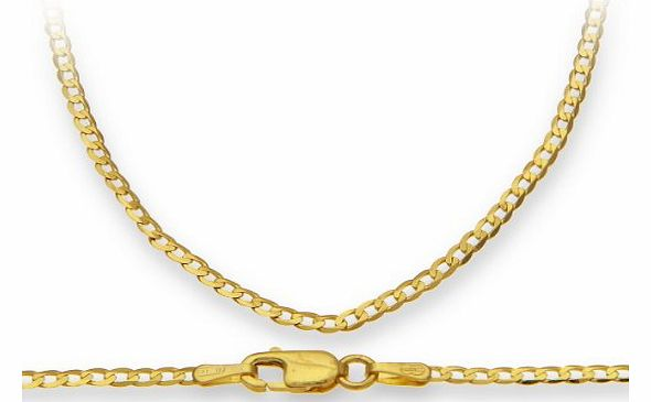 9ct Yellow Gold 2.3g Curb Necklace of 51 cm/20 Inch Length and 1.8mm Width