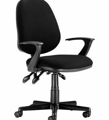 Chairs For Offices 130019BKFA High Back Ergonomic Computer Chair Fixed Arms Black Fabric Free 3 day Delivery