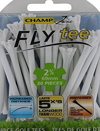 Champ Zarma Golf Fly Tee 30 Pack - White, 70mm
