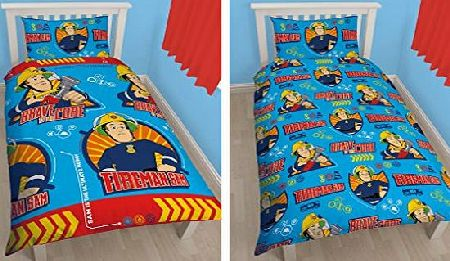 Character World Fireman Sam Brave Single Reversible Rotary Duvet Set Duvet Cover and Pillow Case