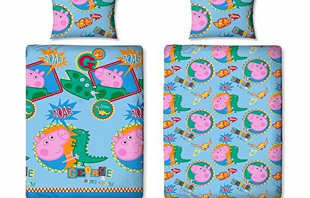 Official Peppa Pig George Dino Roar Single Bed Duvet Quilt Cover Brand New Set REVERSIBLE 2 IN 1 BEDDING QUILT PILLOW CASE SET (PGR1)