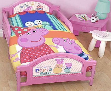 Character World Peppa Pig Funfair Junior Panel Duvet Set Fits Toddler Junior amp; Cot Bed Duvet Cover and Pillow Case