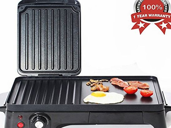 Charles Jacobs 2200W TEN Portion Healthy Portable ELECTRIC GRILL and GRIDDLE Variable Temperature Control, Panini Sandwich Toaster, Caravan and Camping Cooker in Black 2 Year Warranty