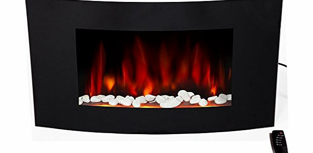 Charles Jacobs 2kW LARGE FIREPLACE 2015 Early Release with Big Black Curved Glass Screen Plasma Style Wall Mounted Electric Fire Place Heater 2000W MAX incl. 2 YEARS NATIONAL WARRANTY