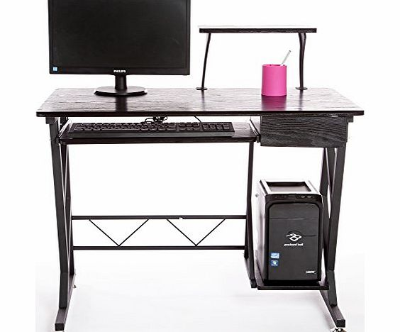 Computer Desk in Black Finish with Keyboard Shelf and Platform, Drawer, Home Furniture / Office Workstation by Charles Jacobs #AA106#
