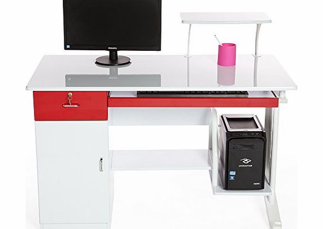 Computer Desk in White amp; Red Finish with Keyboard Shelf and Platform, Drawer and Large Cabinet, Home Furniture / Office Workstation by Charles Jacobs #AA92#