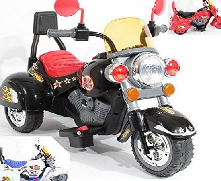 Charles Jacobs Harley Ride on Kids Motorcycle Electric Scooter Motorbike 6V Battery Operated Toy Trike (Black)