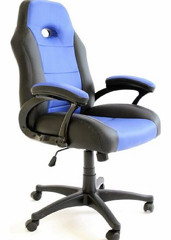 Luxury Office High Back Support Gaming Chair in Black & Blue + Tilt Lock Mechanism