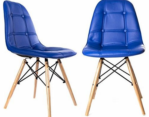 Replica Charles Eames Dining/Office Chair x2 (PAIR) in Blue with Wooden Legs, New 2015 Cushioned Design for Extra Comfort, Modern Lounge Furniture