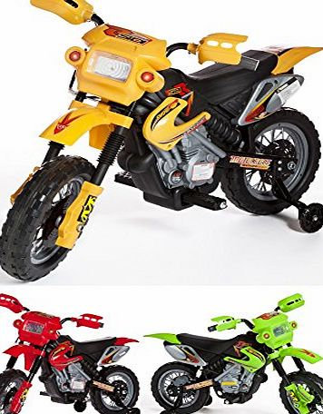 Charles Jacobs Ride on Kids Motocross Style Electric Scrambler Motorbike 6V Battery Operated Toy in Yellow