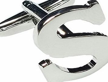 Charles William Fashion Single Letter S Alphabet Initial Cufflink Formal Business Mix amp; Match Silver Letter Cufflinks