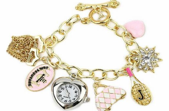 Charm Bracelet in 18K Gold Plated with Watch