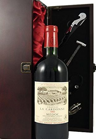 Chateau Cardonne Medoc Cru Bourgeois 1982 Vintage Wine presented in a silk lined wooden box with four wine accessories