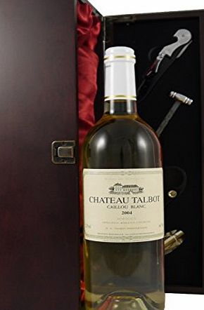 Chateau Talbot Caillou Blanc 2004 Bordeaux Vintage white Wine presented in a silk lined wooden box with four wine accessories
