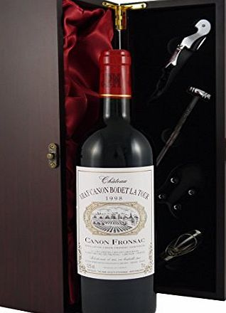 Chateau Vray Canon Bodet La Tour Bordeaux 1998 Vintage Wine presented in a silk lined wooden box with four wine accessories