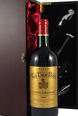 Chateau Vray Canon Boyer Bordeaux 1995 Vintage Wine presented in a silk lined wooden box with four wine accessories