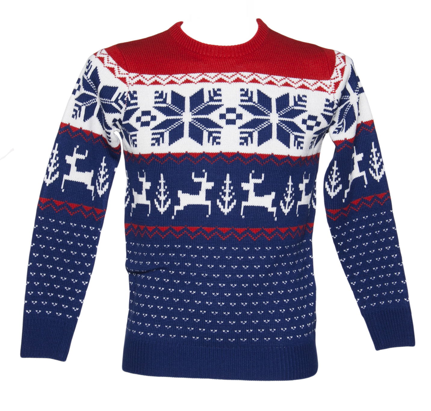 Unisex Blue and Red Wonderland Knitted Christmas