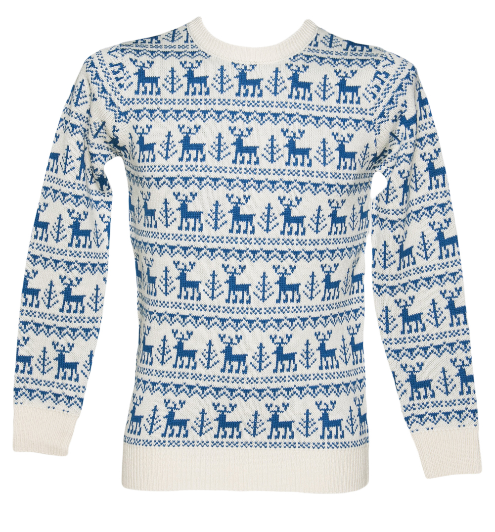 Unisex Blue Reindeer Repeat Knitted Christmas