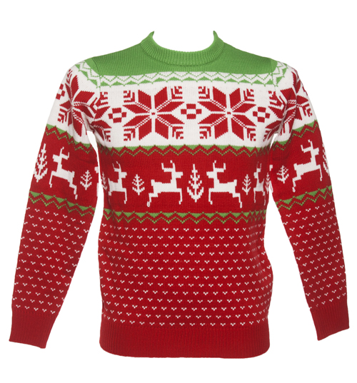 Unisex Red Wonderland Knitted Christmas Jumper