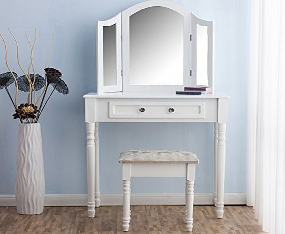 Cherry Tree Furniture CherryTree Furniture Dressing Table 3 Way Mirrors Triple Mirror Makeup Dresser Set with Stool