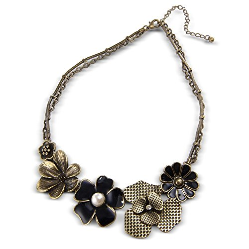 A Stylish Vintage Flower Necklace - Excellent quality womens costume jewellery necklace - Arrives in a Pretty Gift Bag making this a perfect unique present