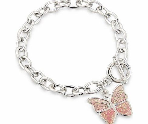 Pale Pink Butterfly Charm Bracelet finished with T-Bar fixing - Childrens Jewellery -Includes pretty gift bag - Ideal jewellery present.