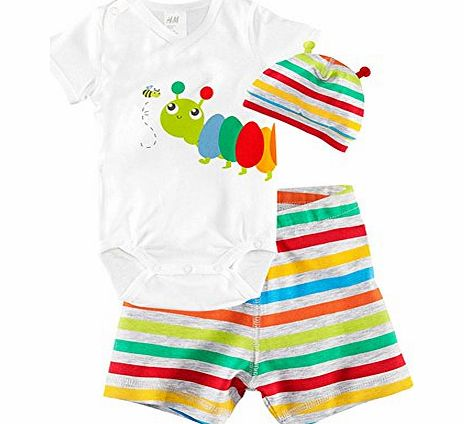 CHIC*MALL Children Baby Boys Girls Sets Clothes 3pcs Romper Hat Pants Clothing Set Summer Insect (90)