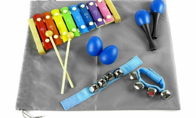 Children Web store kilofly Mini Band Musical Instruments Value Pack, Xylophone   6 Rhythm Toys [2 Maracas, 2 Egg Shakers, 2 Wrist Bells, Blue] Color: Blue