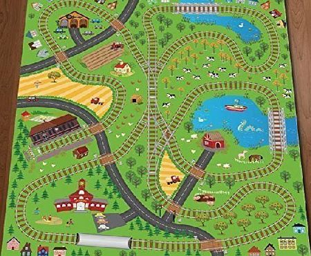CHILDRENS PLAY MAT Giant Kids Childrens Railway Track Lines City Playmat Fun Town Trains Cars Play Village Farm Road Carpet Rug Toy Mat