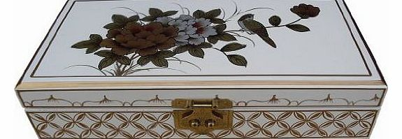 Hand Painted Jewellery Box with Bird & Flower Artwork, Chinese Oriental Furniture & Gifts