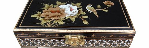 Hand painted Lacquered Jewellery Box with Bird & Flower Artwork, Chinese Oriental Furniture & Gifts