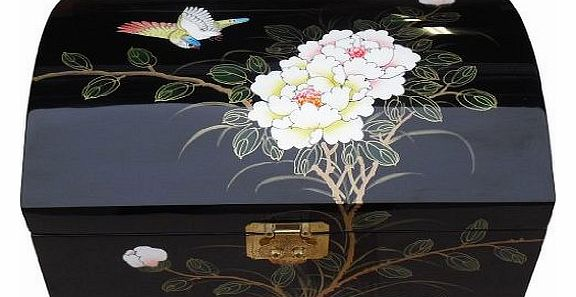 Oriental Chinese Furniture / Gifts - Black Lacquer Jewellery Box with Bird & Flowers