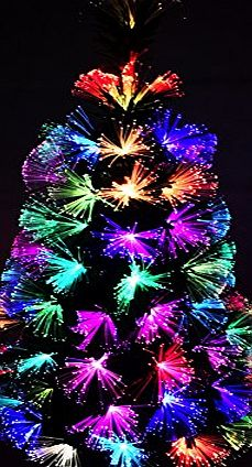 CHRISTMAS CONCEPTS 36 Inch (3FT) Green LED Firework Fibre Optic Christmas Tree With Colour Changing LED Lights   Gold Base