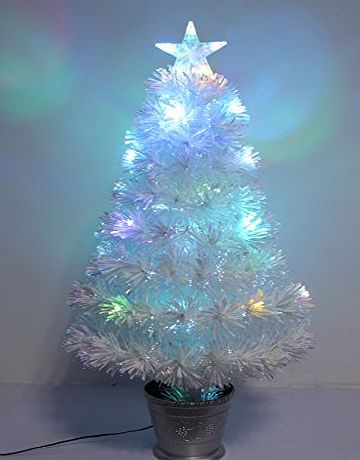 CHRISTMAS CONCEPTS 36 Inch (3FT) Irridescent LED Fibre Optic Christmas Tree With Colour Changing LED Lights   Silver Base