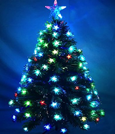 CHRISTMAS CONCEPTS 48 Inch (4FT) Green LED Fibre Optic Christmas Tree With Colour Changing LED Stars   Fibre Optics