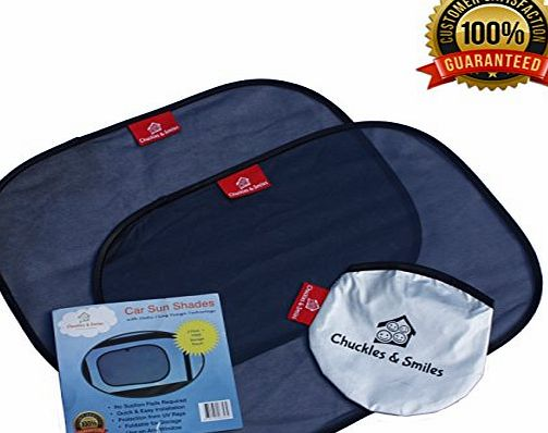 Chuckles and Smiles New 2017 Self-Clinging Car Sun Shades for Side Windows (2 Pack) - Universal Cling Sun shades for the Car - Protect your kids and pets in the back seat from sun glare and heat. Blocks over 97 of harmf