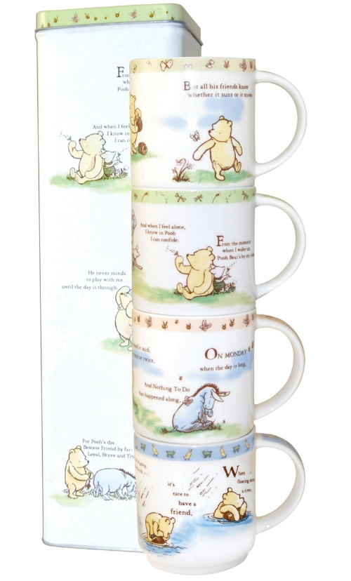 Churchill China Winnie The Pooh Friends Forever Set of 4 Mugs
