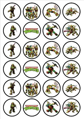 Teenage Mutant Ninja Turtles Edible Wafer Rice Paper 24 x 4.5cm Cupcake Toppers/Decorations