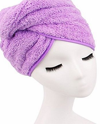 Cimary Dry Hair Hat,Absorbent Hair Drying Turban ,Soft Microfiber Fabric Quick Magic Dryer Wrapped Bath Shower Cap Salon Towel Women (Purple)
