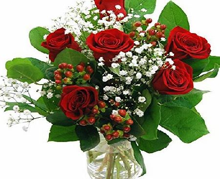 Clare Florist Valentines Flowers Heartfelt Red Roses Bouquet - 6 Gorgeous High Grade Fresh Roses