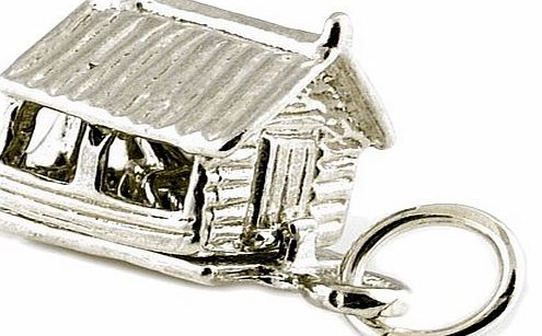CLASSIC DESIGNS Sterling Silver 925 Opening Garden Shed Charm Reveals An Old Fashioned Push amp; Pull Lawn Roller N405